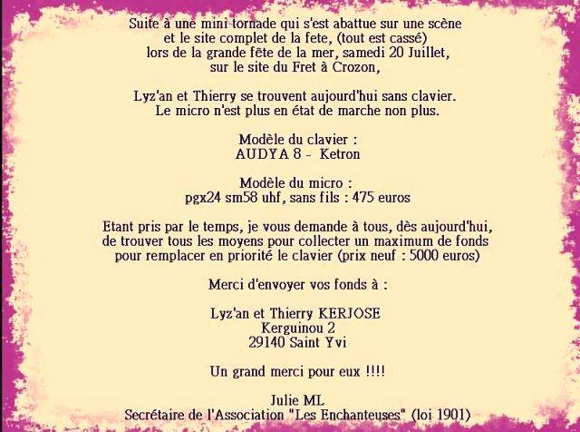 Appel à Solidarité entre artistes - Enchères du 24 au 31 juillet à 24h00 - Merci pour Lyz'an et Thierry dans ACTUALITE DES ARTISTES 1004497_663418067004991_1508082781_n