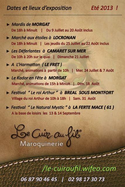Cet été - Julien SIMON – Le Cuir au Fil - sera présent dans plusieurs festivals et marchés -voir la liste du 9 juillet au 14 septembre 2013 dans AGENDA 2013-afiche-ete-le-cuir-au-fil1